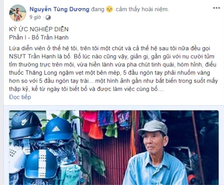Diễn viên Tùng Dương chia sẻ những kỷ niệm với NSƯT Trần Hạnh.