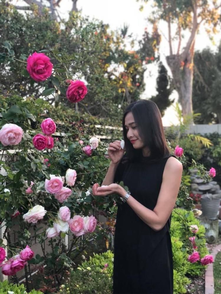 Dù cuộc sống khá bận rộn nhưng Dương Mỹ Linh vẫn tạo cho mình không gian sống đầy màu xanh và đậm hương hoa.