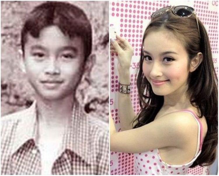 Nong Poy khi còn là một cậu bé (trái) và sau khi đã chuyển giới