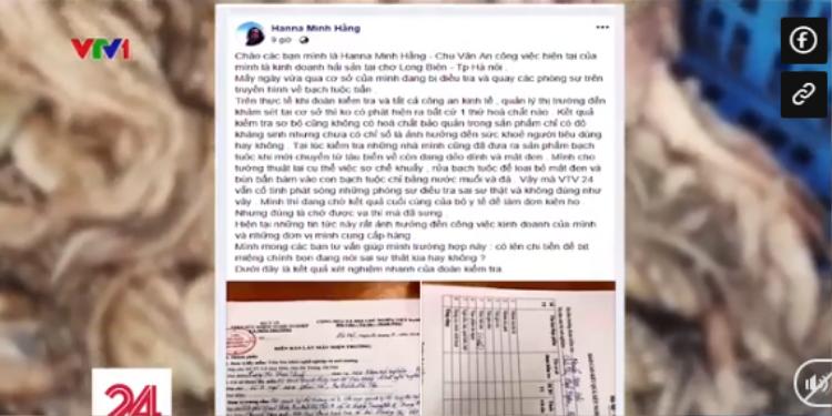 Chủ cơ sở còn đưa lên mạng xã hội những thông tin sai sự thật về kết quả kiểm tra. Ảnh cắt từ clip.