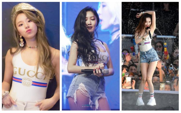 Một loạt idol Hàn Quốc như Hwasa (Mamamoo), Sunmi và Chae Young cũng đụng nhau chan chát khi diện cùng mẫu bodysuite tôn dáng cực nuột này.