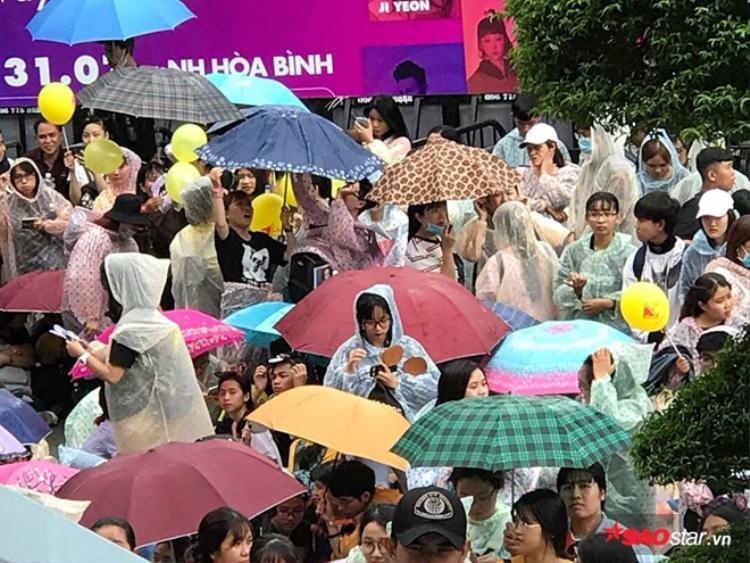 Dù trời đổ mưa lớn nhưng hàng trăm fan không quản ngại mà đứng chờ thần tượng xuất hiện.