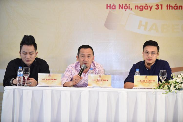 Ca sĩ Tùng Dương, nhạc sĩ Quốc Trung và tổng đạo diễn chương trình Đặng Lê Minh Trí.