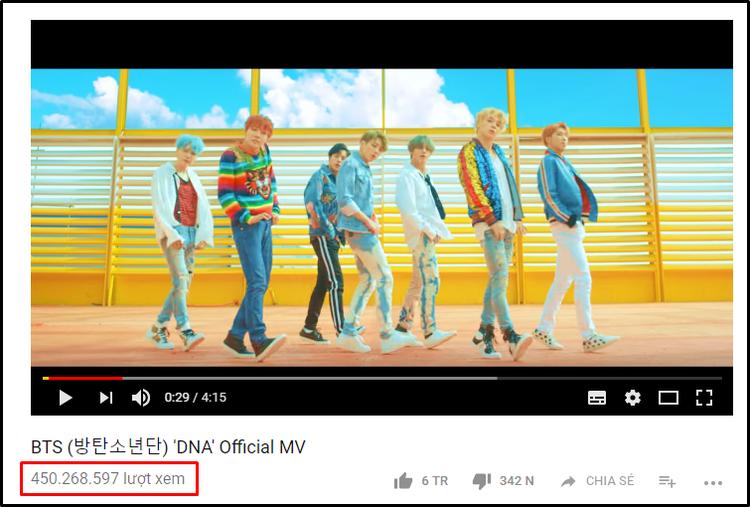 MV DNA - BTS vượt mốc 450 triệu lượt xem sau 10 tháng.