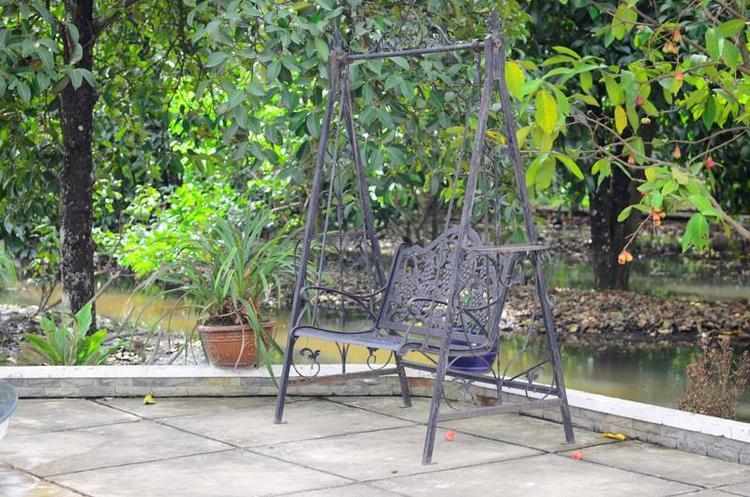 Khu vườn của Việt Trinh trông đủ loại cây ăn trái, được thiết kế giống những khu vườn dân giã khác. Các loại cây được trồng tự do phát triển, có những mương nước nhỏ chảy khắp khu vườn.
