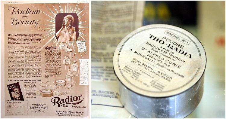 Không lâu sau khi chất phóng xạ được sử dụng trong y tế và thương mại, một số hãng mĩ phẩm bắt đầu đưa nó vào ngành chăm sóc sắc đẹp.