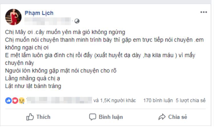 Những dòng trạng thái bức xúc của Phạm Lịch với vợ Phạm Anh Khoa (nickname: Mây)..