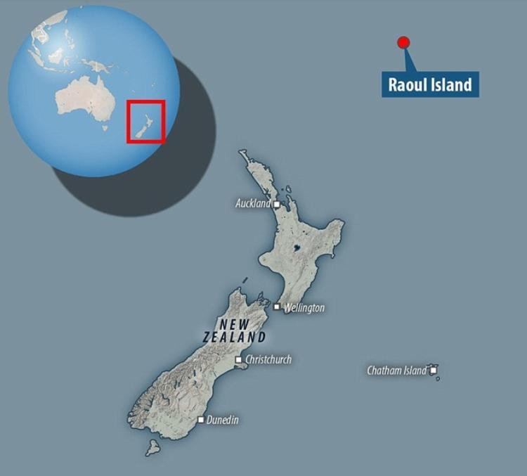 Đảo Raoul ở vị trí đáng chú ý, được cho là có nguồn sinh vật biển phong phú. Ảnh: Dailymail.