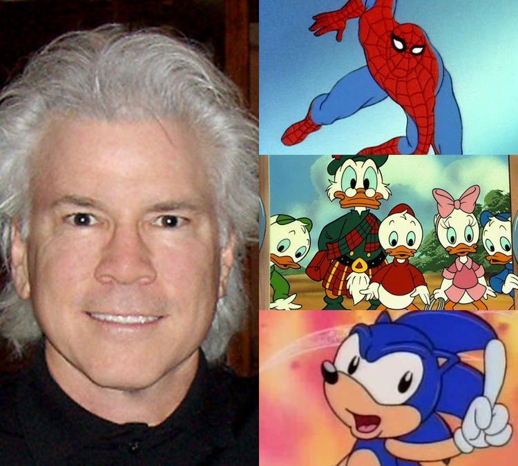 Jeffrey Scott bên cạnh một số tác phẩm hoạt hình nổi danh.