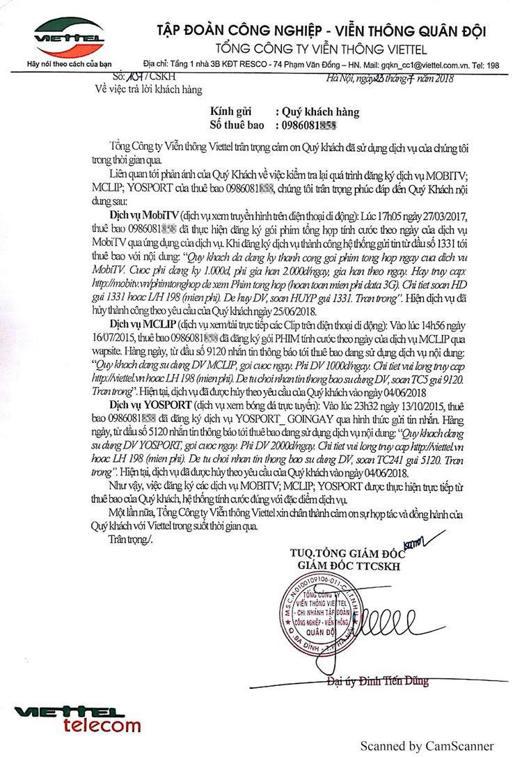 Thư phúc đáp lại khiếu nại của anh Tiến đề ngày 23/7 từ Giám đốc TTCSKH Viettel. Ảnh NVCC