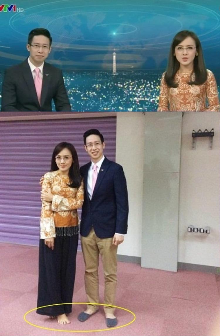 Hình ảnh của 2 BTV Anh Tuấn và Hoài Anh lúc chương trình phát sóng và tại hậu trường.