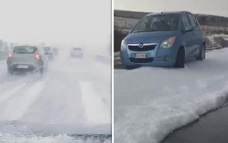 Đảo Sardinia bất ngờ chìm trong bão tuyết giữa thời tiết 35 độ C. Ảnh: Odditycentral