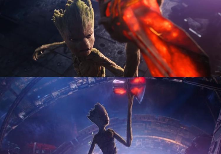 Groot dùng cánh tay trái của mình làm cán búa Stormbreaker.