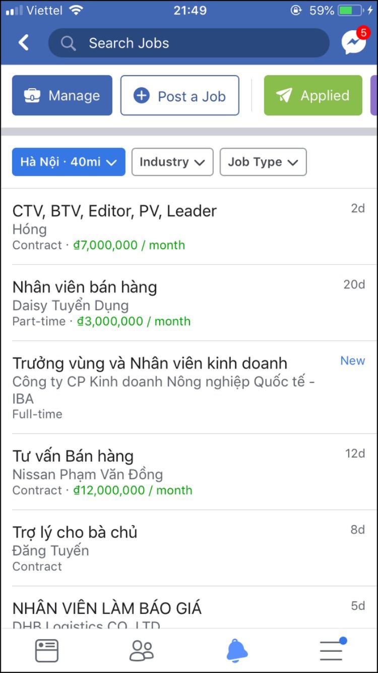 Facebook ở Việt Nam vừa có tính năng giúp người dùng tìm việc làm