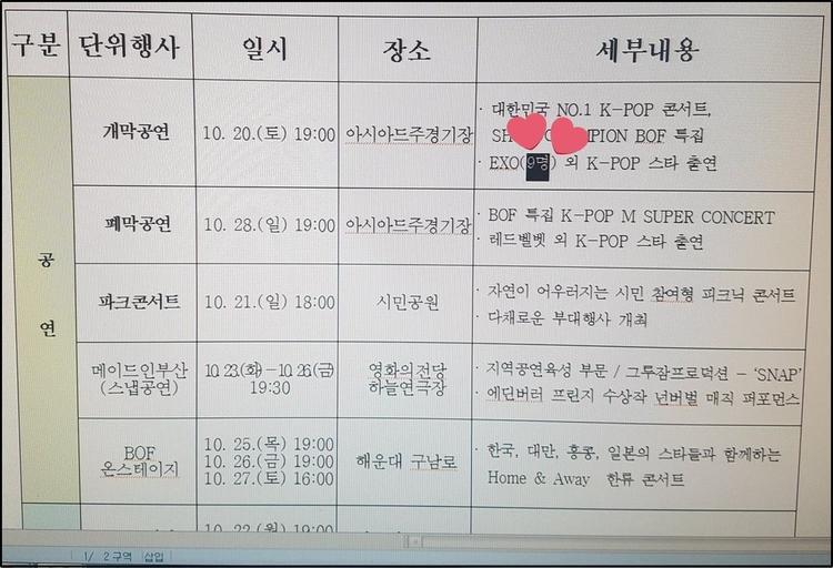 Kịch bản chương trình Busan One Asia Festival ghi rằng EXO sẽ biểu diễn với 9 người.
