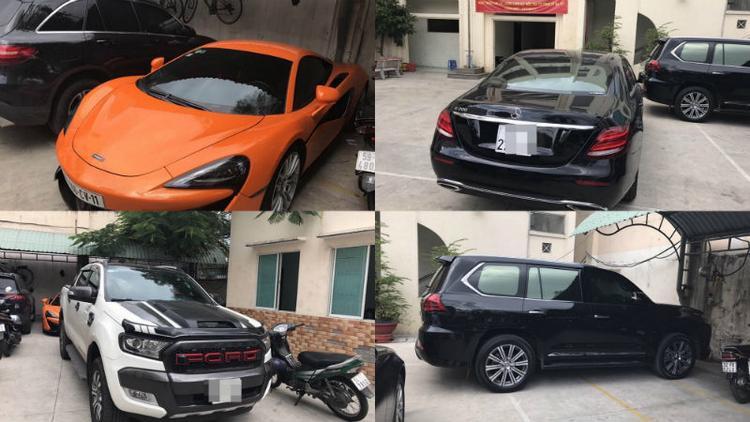 Một số siêu xe của Hoàng Béo bị giữ trong vụ án.