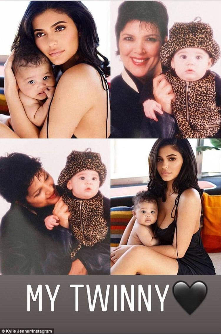 Hình ảnh chính mình thời bé với ảnh của bé Stormi, nhận xét rằng mẹ con họ giống nhau như sinh đôi.