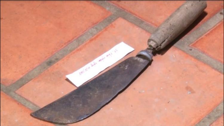 Con dao được tìm thấy ở hiện trường. Ảnh: báo Lao động.