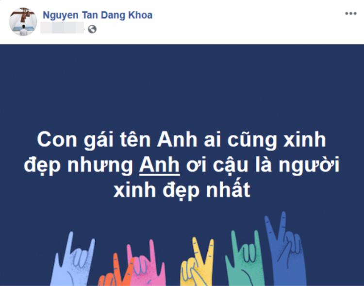 """Đây là bài post trước đó trên trang cá nhân của Đăng Khoa mà theo Jun Vũ là do chính cô tự ý post lên """"để khen mình""""."""