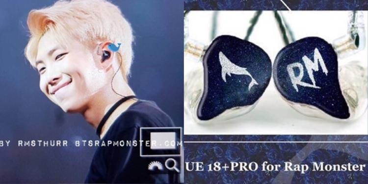 RM ngoài ra còn một chiếc UE18+ Pro nữa với thiết kế đen - trắng cùng một bên in hình cá voi và một bên in tên anh. Mỗi chiếc tai nghe thế này có giá 1.499 USD chưa kể các chi phí liên quan đến thiết kế hoặc tuỳ biến.