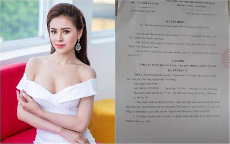 Người đẹp Thư Dung bất ngờ bị tước bỏ danh hiệu Á quân cuộc thi Người đẹp thời trang 2018.