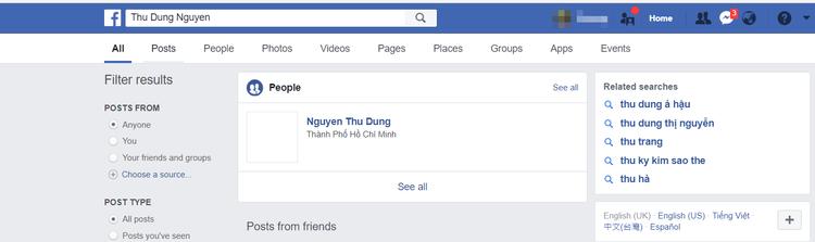 Có vẻ như Á hậu Thư Dung vừa khóa facebook cách đây không lâu nên khi tìm kiếm vẫn hiện lên nickname…