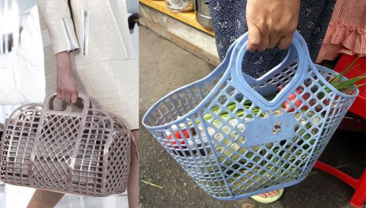Dòng túi xách (trái) thuộc BST xuân hè 2012 có thiết kế không khác chiếc làn đi chợ của bà nội trợ Việt (phải) được Louis Vuitton niêm yết giá bán từ 2600 USD (khoảng 60 triệu đồng).
