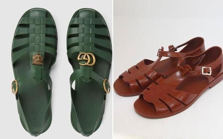 """Mẫu dép cao su cài khóa gắn logo """"GG"""" của Gucci tuy được chế tác hoàn toàn tại Italy và bán với giá 490 USD nhưng lại có kiểu dáng """"hao hao"""" đôi dép cao su Việt Nam (trái) có giá bán chưa đến 100.000 đồng."""