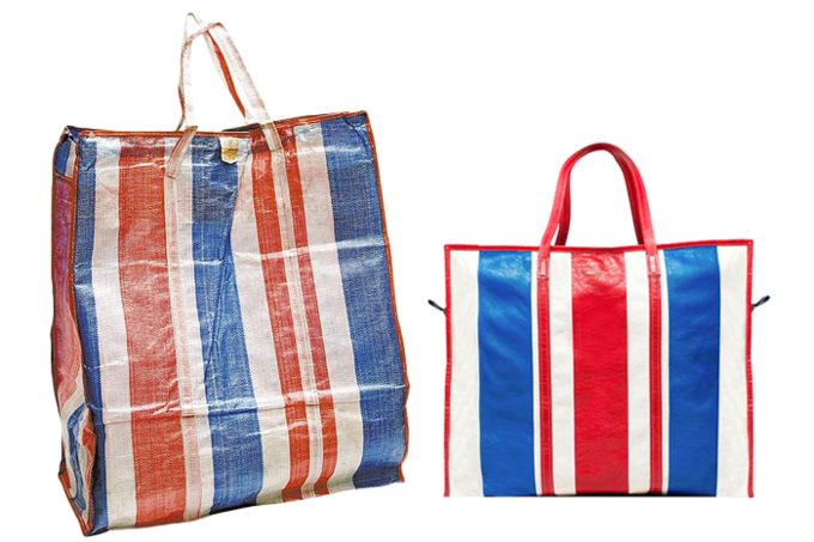 Thương hiệu Tây Ban Nha - Balenciaga - từng trình làng loạt túi tote họa tiết kẻ trong BST thu đông 2016. Có giá bán từ 1.750 USD trở lên nhưng dòng túihàng hiệunày bị đem ra so sánh với túi dứa đựng hàng của các tiểu thương ở chợ Việt.