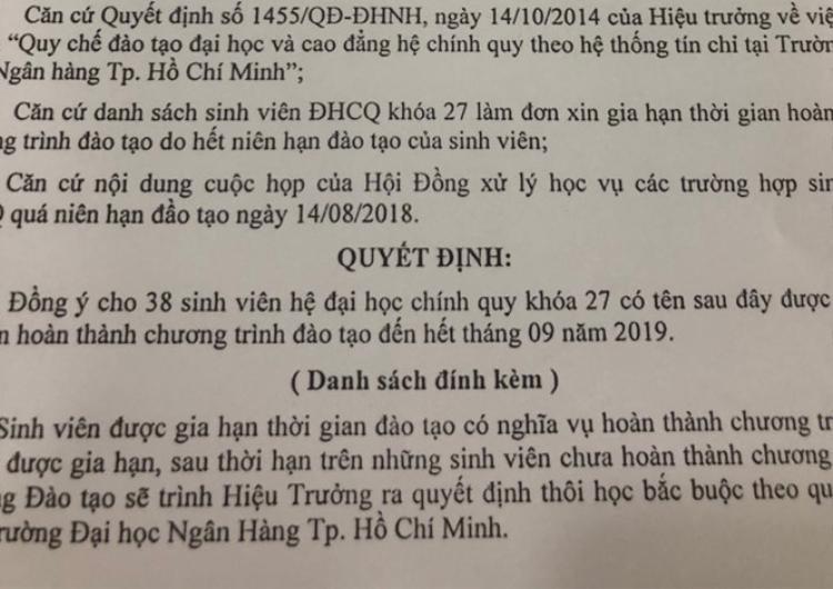Quyết định gia hạn đào tạo của trường ĐH Ngân hàng TP HCM.