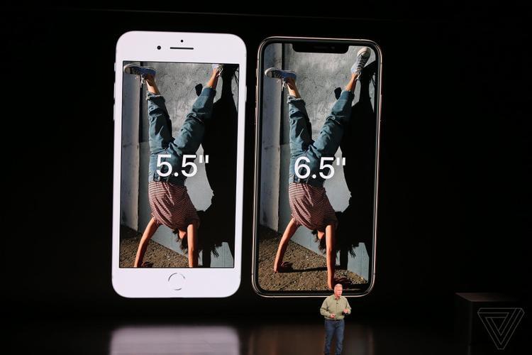 iPhone Xs Max với màn hình kích thước 6,5 inch. Máy có kích thước thân máy tương đương iPhone 8 với màn hình kích thước 5,5 inch.