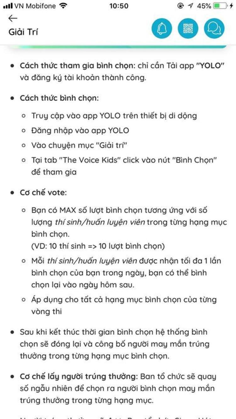 … có cả phần bình chọn Giọng hát Việt nhí vô cùng tiện dụng.