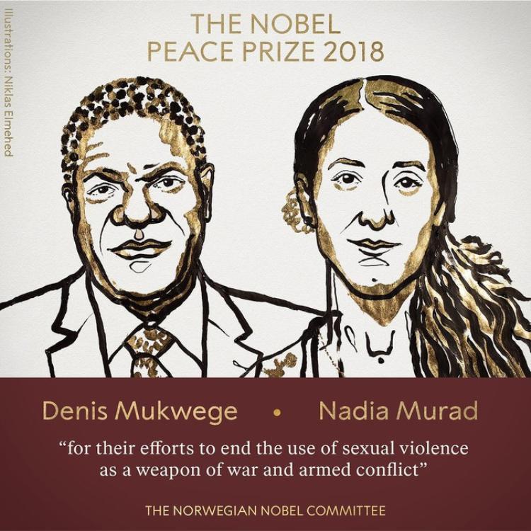 Giải Nobel Hòa bình 2018 được trao cho Denis Mukwege và Nadia Murad.
