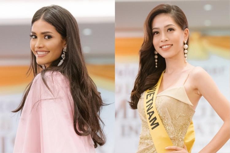 2 người đẹp Venezuela và Việt Nam tại Miss Grand International 2018:Biliannis Alvarez và Bùi Phương Nga.