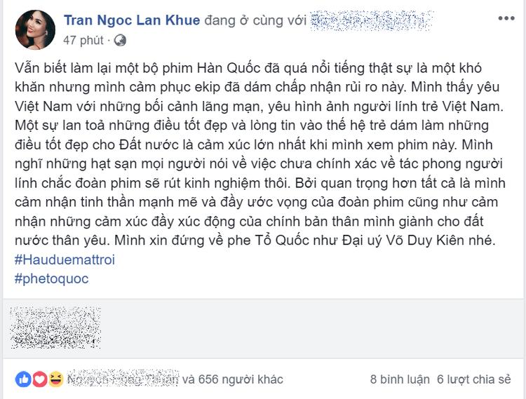 Chia sẻ của Lan Khuê nhận được nhiều sự yêu thích và bình luận ủng hộ từ khán giả.