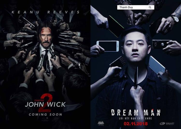 """Poster """"John Wick 2"""" và """"Lời kết bạn chết chóc""""."""