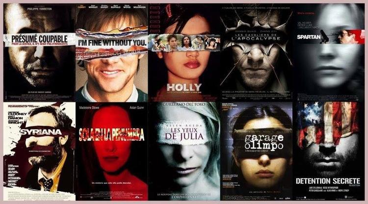 Một nhóm poster phim có cùng bố cục.