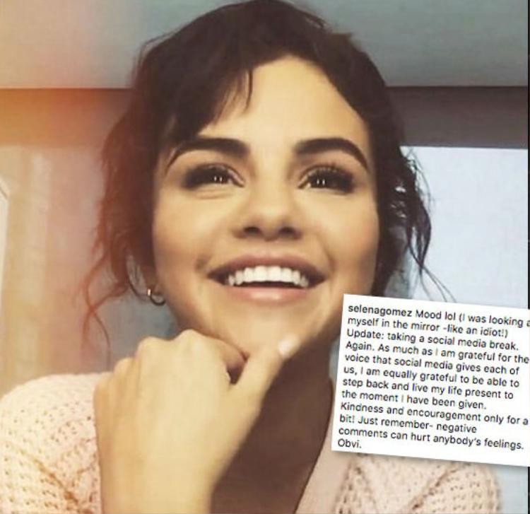 Selena Gomez tuyên bố ngừng sử dụng mạng xã hội vào ngày 23/9.