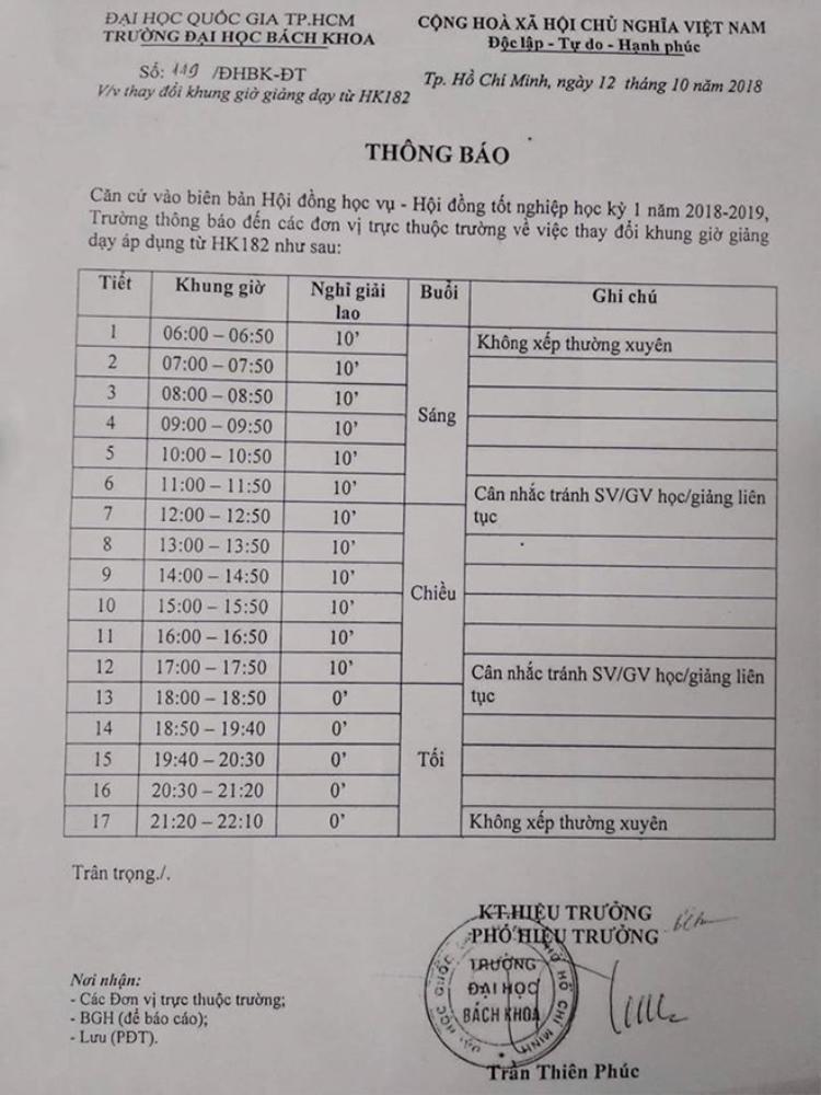 Giấy thông báo thay đổi khung giờ học của các bạn sinh viên ĐH Bách Khoa TP HCM