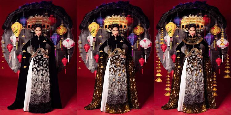 Phố Cổ bước qua những cung bậc cảm xúc khác nhau. Đi kèm với sự huyền bí chính là sự uy nghi cổ kính trên nền màu vàng hoàng gia được nhấn nhá trên từng chi tiết của bộ áo dài.