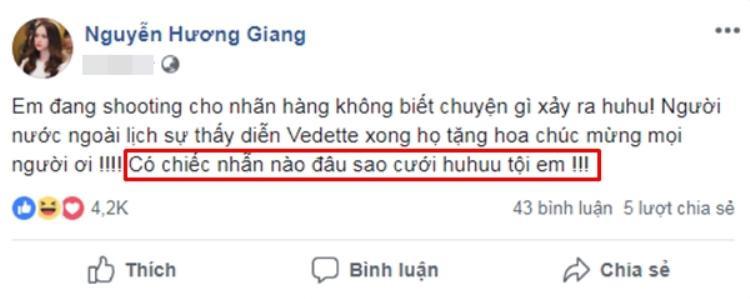 Tuy nhiên, Hương Giang đã lên tiếng khẳng định đó chỉ là hoa chúc mừng chứ không phải cầu hôn.