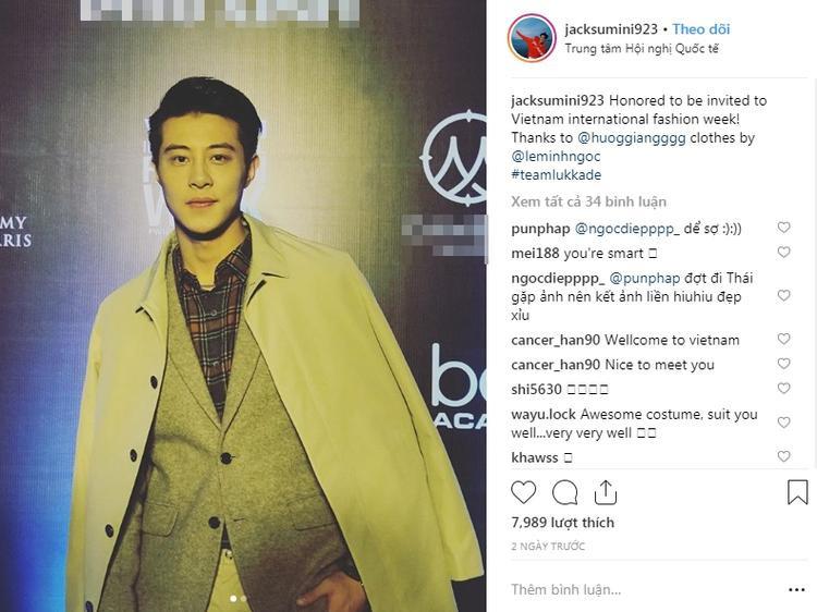 Mỹ nam Jack được mời đến Việt Nam để tham gia một sự kiện về thời trang.