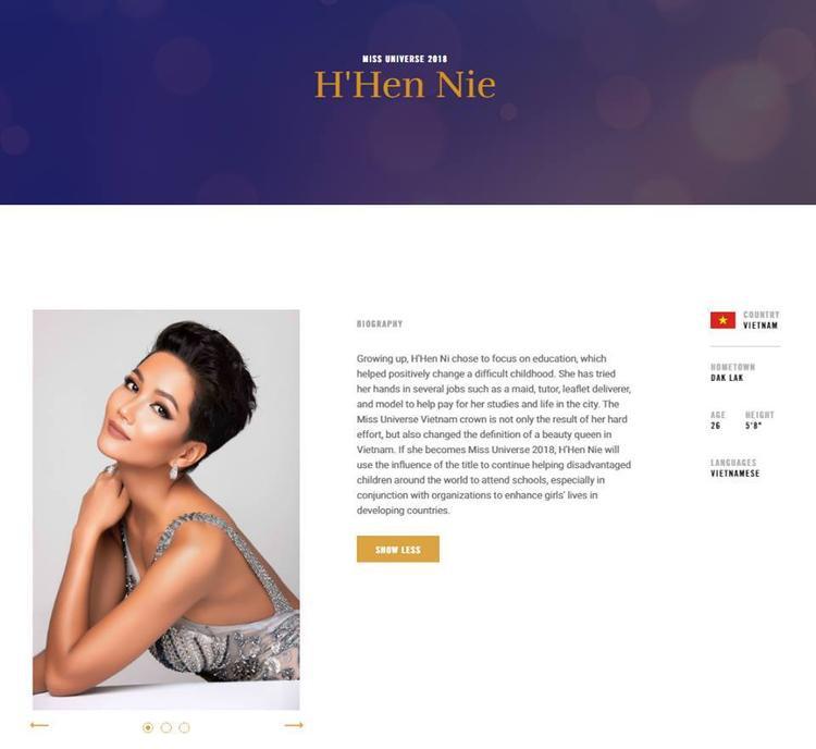 Phần giới thiệu về đại diện Việt Nam trên trang web chính thức của cuộc thi