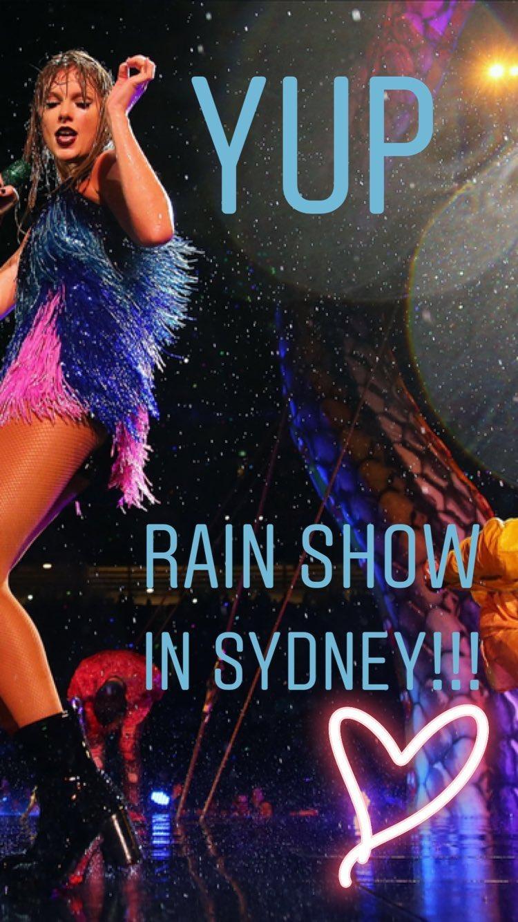 Taylor Swift thông báo tình trạng thời tiết không đẹp cho lắm tại show diễn Sydney trên story Instagram.
