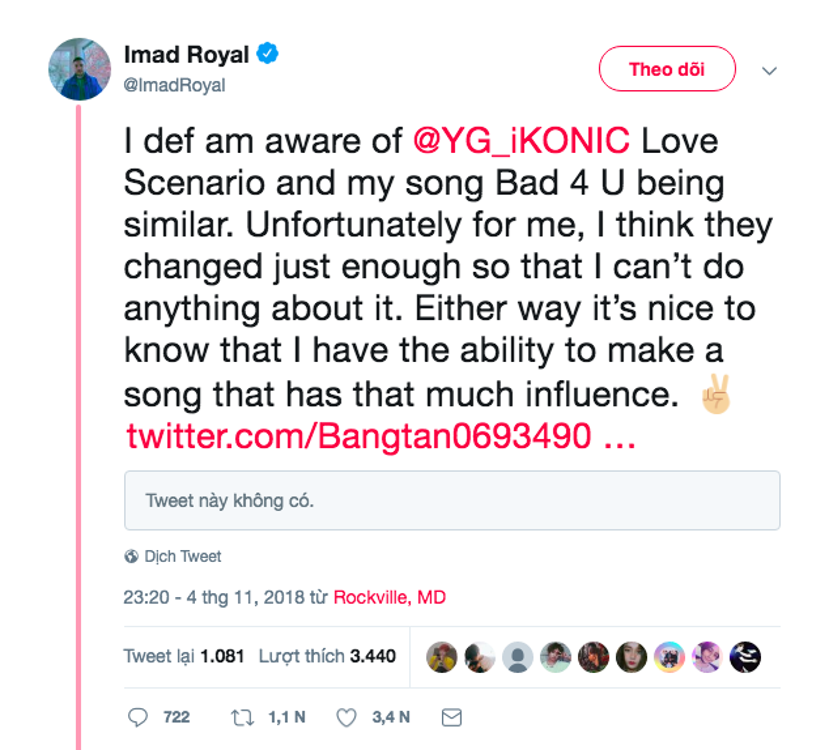 Dòng tweet đầu tiên khơi dậy câu chuyện iKON đạo nhái từ nam ca sĩ người Canada.