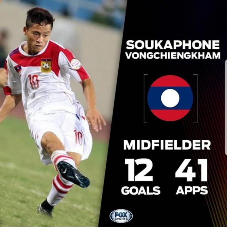 """""""Messi Lào"""" đã ghi được 12 bàn thắng cho ĐTQG."""