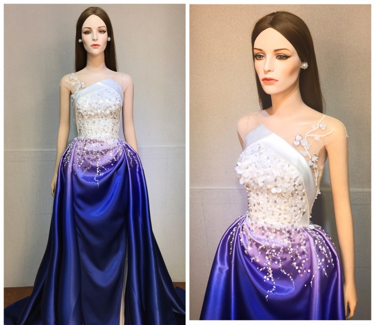 Trang phục dạ hội của Thùy Tiên tại Miss International 2018 là thiết kế của NTK Minh Tuấn.