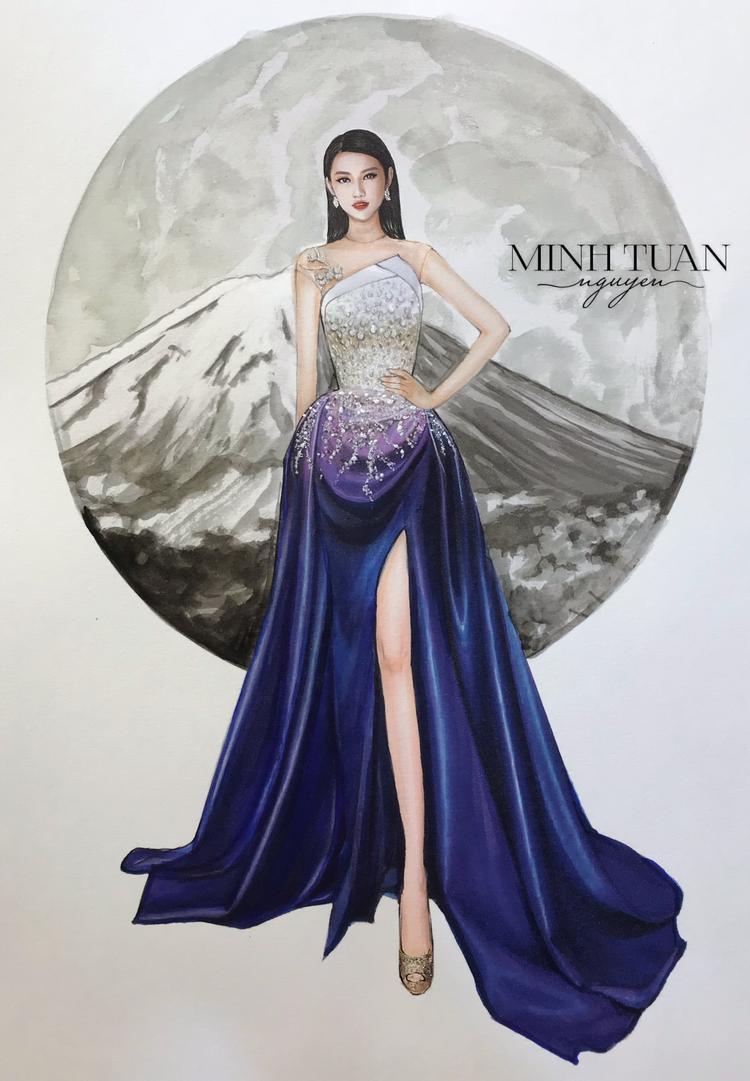 NTK Minh Tuấn cho biết điểm nhấn đặc biệt của thiết kế này là cành hoa anh đào trắng nhỏ nhắn được đính kết bên 1 phần vai e ấp bên vẻ đẹp tráng lệ của Phú Sĩ.