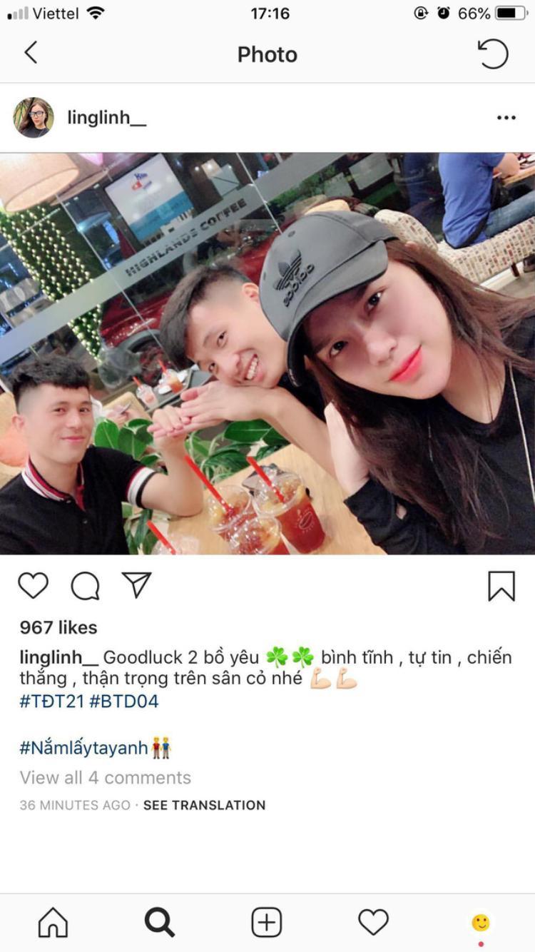 Bức ảnh Khánh Linh đăng tải trước trận ra quân của người yêu trên mạng xã hội.