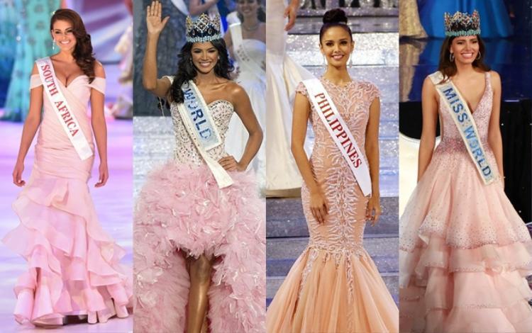 Màu hồng - gam màu định mệnh được cho là cực kì được lòng Miss World. Mang cả vườn hồng đến Miss World – Chiến lược vô cùng cao tay của Tiểu Vy